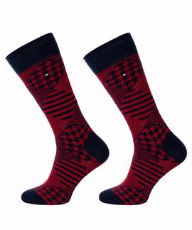 TH MEN SOCK 2 PACK HOUNDSTOOTH NAVY / RED